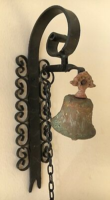 Vtg SPANISH DOORBELL Antique Gothic Wrought Iron Pull Chain/String Chime Knocker