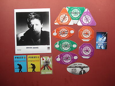 "BRYAN ADAMS,promo photo,13 Original ""OTTO""Backstage passes,Various Tours RARE"