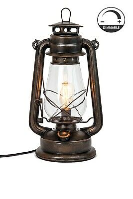 Lantern Table Lamp with Dimmable Edison bulb Included Rustic lighting