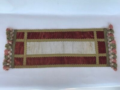 Antique french chic velvet table runner doilie cream pink red gold trim tassels