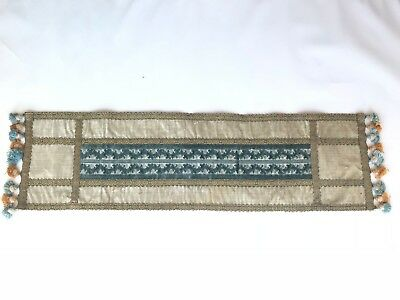 Antique french aubusson tapestry velvet table runner cream teal blue gold tassel