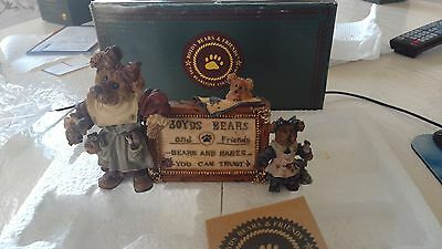 Boyds Bears Bearstone Collection Tessa Ben & Cissie A Sign Of The Times
