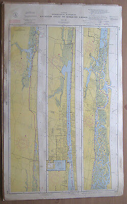 "Vtg 1952 C&GS 2-Sided CHART #843 & 844 INTRACOASTAL WATERWAY FL 24"" x 39.5"""