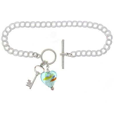 """925 Sterling Silver 7"""" Double Link Charm Bracelet with Key & Heart Murano Glass"""