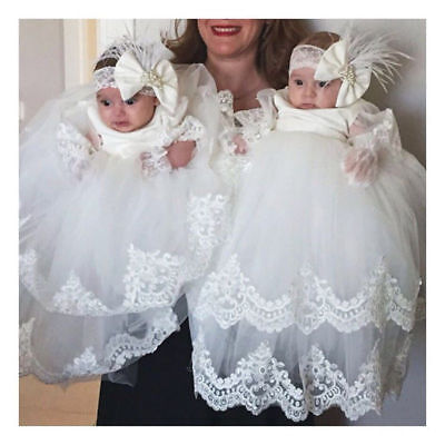 914d9754d12d4 White Lace Baby Baptism Appliques Bling Lolita Robe Dresses Christening Gown  New