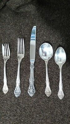 1-Gorham KING EDWARD STERLING SILVER flatware 5 Piece Place Setting, No monogram