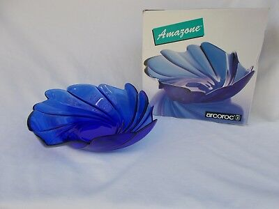 1998  Amozone Deco  Blue Cobalt Bowl J.d .durand  France W/ Original Box Large