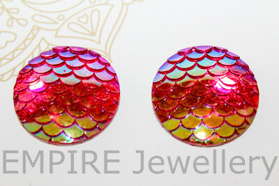 2 x Pink Mermaid Scales Resin Flatback 25x25mm Cabochon Cameo Dome Fish