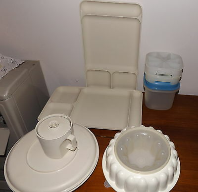 Collection Vintage Tupperware Ivory 2 TV Dinner Trays Ice Bucket Jelly Mould
