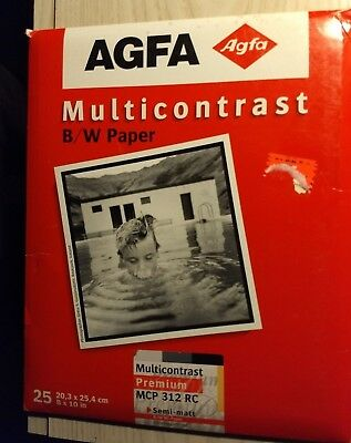 "AGFA Multicontrast Semi-Matte BW Photo Paper 25 Sheets 8""x10"" (SEALED)"
