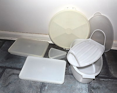 Collection of Vintage Tupperware Meat Keeper Fridge Mates Cake Taker White