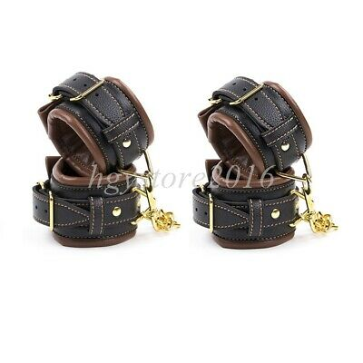 Slave Pu Leather Handcuffs Ankle Wrist Cuffs Restraint Shackles Bondage Roleplay
