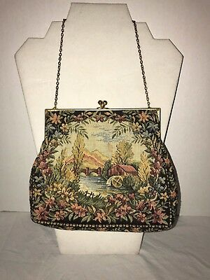 Vintage WALBORG Handmade France Petit Point Tapestry Embroidered Fabric Purse