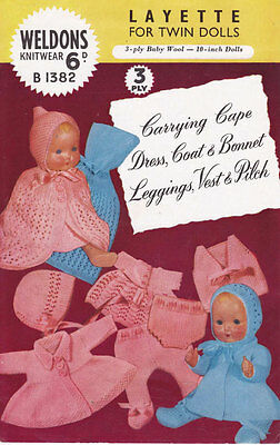 "VINTAGE KNITTING PATTERN COPY - TO KNIT LAYETTE FOR TWIN  10"" DOLLS -  1950's"