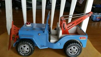 Vintage Tonka Jeep Wrecker With Plow, Pressed Steel Toy CJ TOW TRUCK
