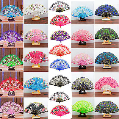 Best Spanish Style Dance Wedding Party Lace Silk Folding Hand Held Flower Fan HG