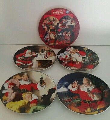 "Vintage Coca Cola Holiday Portrait  4   8"" Christmas Plates Ceramic Santa Sakura"