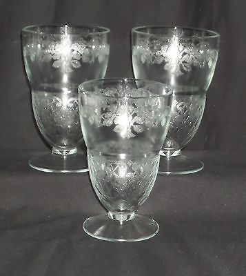 """3 Indiana VERNON CRYSTAL *5"""" FOOTED TUMBLERS*"""