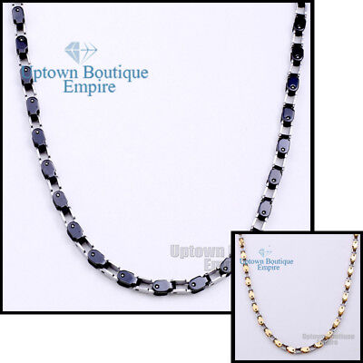 """18-36"""" MEN's Stainless Steel 5mm Silver Gold Black Box Bike Chain Necklace"""