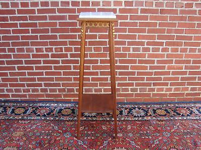 Antique French Style Marble Top Mahgany Plant Stand