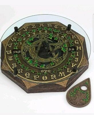 Black Cat and Crescent Moon Ouija Board with Planchette and Glass Top Paranormal