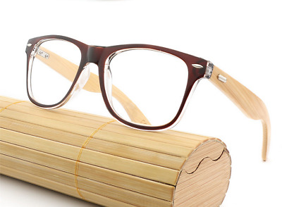 d966966051def Classic Bamboo Wood temple Women men Eyeglass Frames RX Glasses brown  Sunglasses