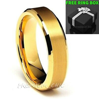 24k Gold Tungsten Carbide Mens Wedding Band Ring Brushed Center Beveled Edge