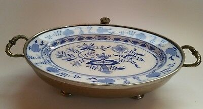 MEISSEN BLUE ONION Oval Plate and Metal Food Warmer Vintage Antique