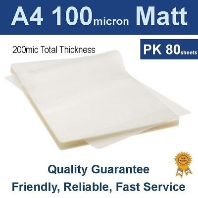 A4 Laminating Pouches Film 100 Micron Matt (PK 80)