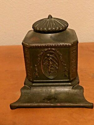 antique J.B. 395 art nouveau * INKWELL * bronze Jennings Brothers * glass insert