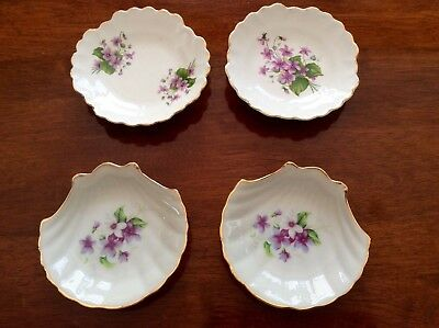 4 Vintage Handpainted VIOLETS Pin Dishes