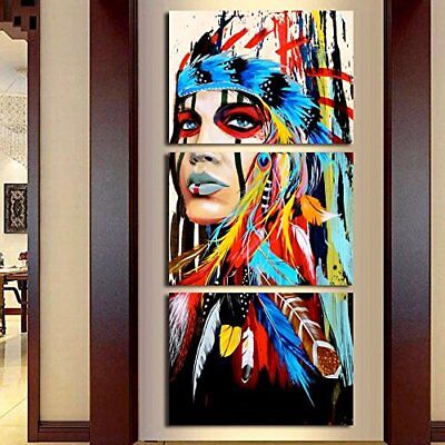 Truly Beauty Painting Native American Girl Feathered Women Modern Home Wall Art
