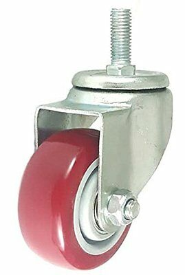 3 Inch Caster Wheels Swivel Plate with Stem on Red Polyurethane Wheels