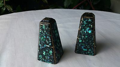 SALE! Vintage New Zealand Salt and Pepper Shakers Paua Shell/Abalone
