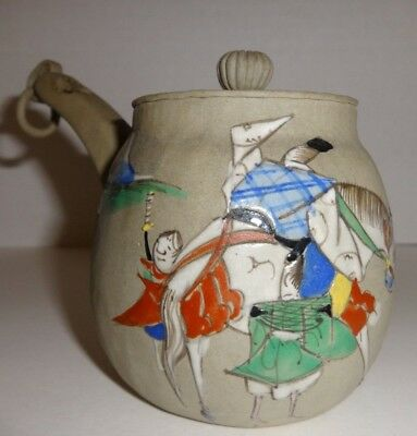 Antique Japanese Banko clay miniature painted teapot Samurai horse signed