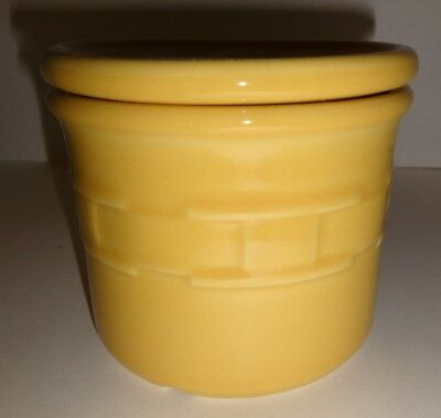 Longaberger Candle Holder Ceramic with lid cover Butternut yellow Peach Scent