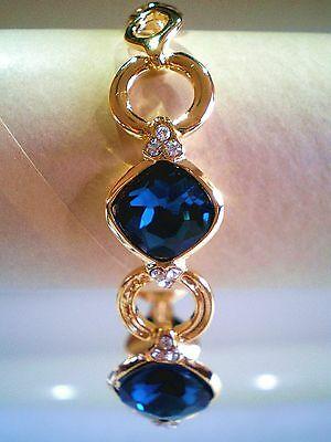 "Beautiful Cut Sapphire Crystal Bracelet Gold & Silver Plated Size 6.5"" Long"
