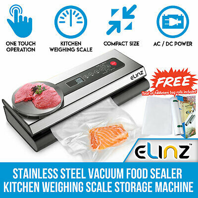 Stainless Steel Food Vacuum Sealer 4X EXTRA Rolls Kitchen Weighing scale Bags