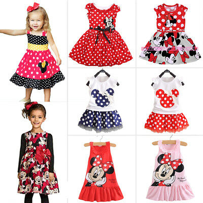 Toddler Baby Kids Girls Mickey Minnie Mouse Party Tutu Dress Summer Mini Skirt