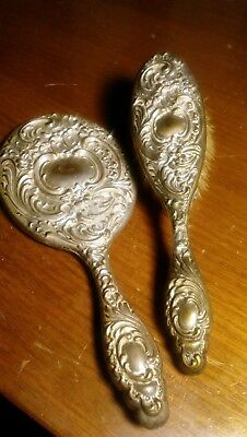 Antique Floral Design Mirror And Brush