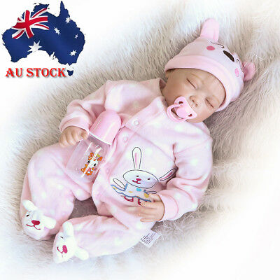 "AU! 22"" Simulated Reborn Baby Dolls Soft Silicone Baby Lifelike Playing Toy Gift"