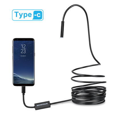 Depstech USB-C & Micro USB Endoscope, Semi-rigid USB Type-C Borescope Inspection