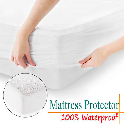 King Size Mattress Protector Waterproof Terry Towel Extra Deep Fitted Bed Cover