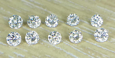 10pc Natural Loose Brilliant Cut Diamond I1 Clarity J Color 0.8-2.5mm Round