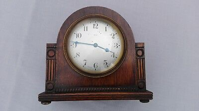 Vintage Wooden Mantel Clock 8 Day French Make To Restore