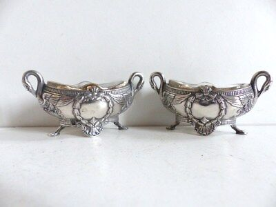 SUPERB PAIR of ANTIQUE FRENCH SOLID SILVER 950 SALT CELLARS c.1890's w. SWANS