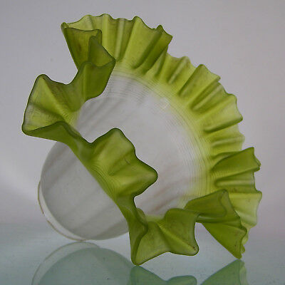 Antique Victorian Ruffled Frosted Satin Green Art Glass Lamp Light Shade Deco