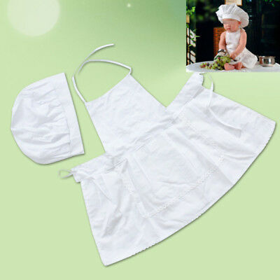 Lovely Cute Baby costume chef hat cook chef apron newborn hat White Fancy Dress