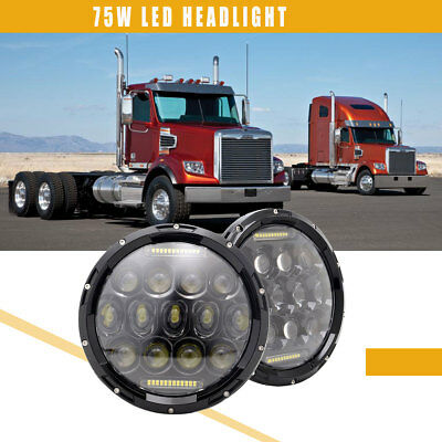 For Freightliner Coronado 2Pcs 7 inch 75W  Round LED DRL Headlight Hi/Low Beam