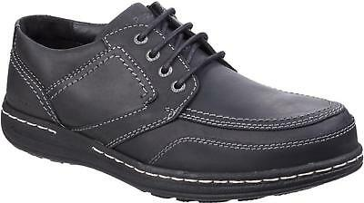 Hush Puppies VOLLEY VICTORY Mens Lace Up Comfy Moccasin Casual Shoes Black